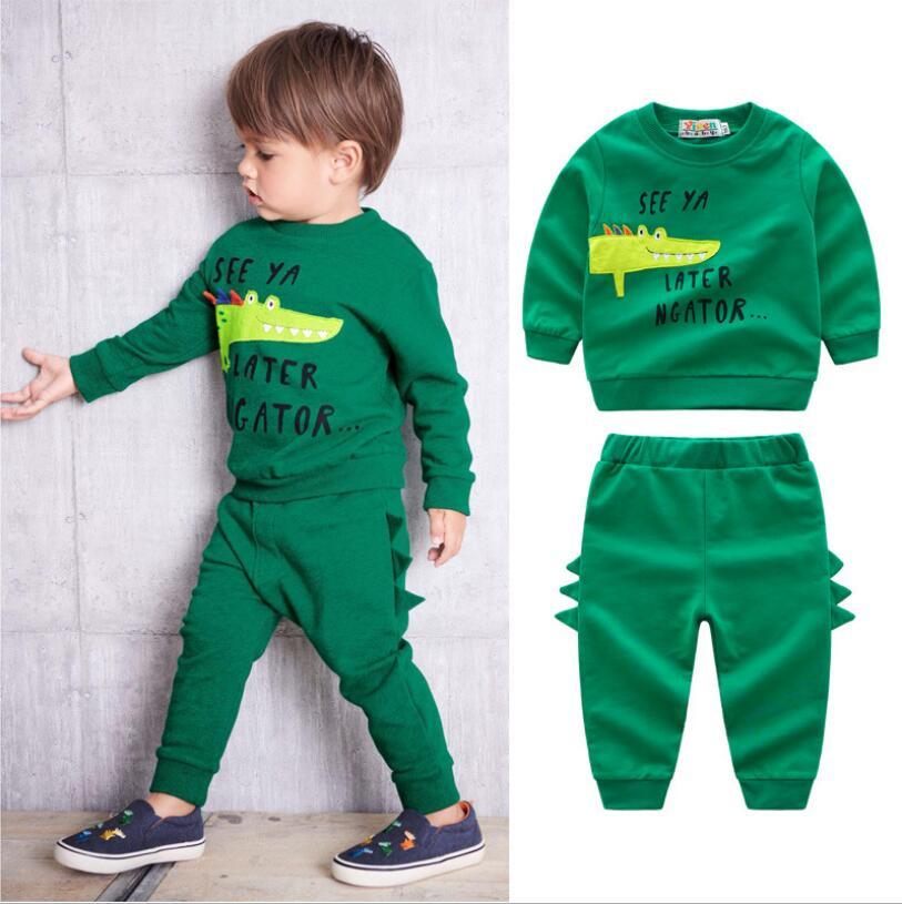 Clothing-Sets Sport-Suit Crocodile Girls Baby-Boy Children Cartoon Casual Spring Cotton