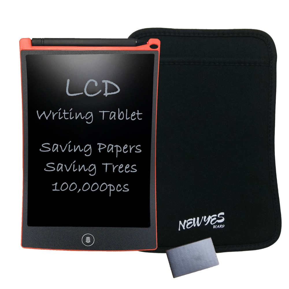 NEWYES eWriter Red 8.5 Inch LCD Digital Drawing Handwriting Pads Kids Gifts ABS Tablets with Sleeve and Magnet Free Shipping