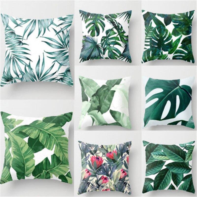 Green Tropical Plant Pillow Case Cotton Linen Good Cover Decorative For Giving Your Good Sleep