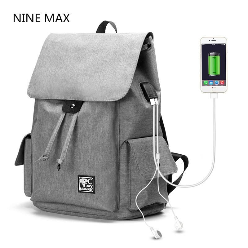 New Fashion Men Women Canvas Backpacks Large Capacity 14inch Computer Backbag USB Port Bags Unisex Student School Bag Black Gray