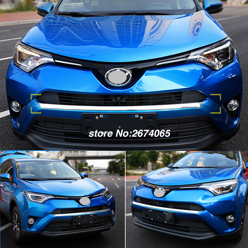 Front Grill Grille Trim Garnish Bumper Protector Strips For Toyota RAV4 RAV 4 2016 2017 ABS Chrome Sticker Car styling Accessory 3pcs set abs chrome rear door trunk lid cover trim garnish for 2016 toyota rav4 rav 4 styling car accessories