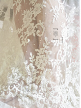 1 Yard Beautiful wedding Alencon Lace Fabric in Off White, Retro Style Floral Lace Trim, Both Scalloped Edging Fabrics scalloped trim lace panty