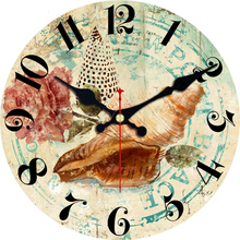 hot deal buy vintage beach clocks silent brief design living room office home decor wall art shabby chic large wall clocks duvar saati