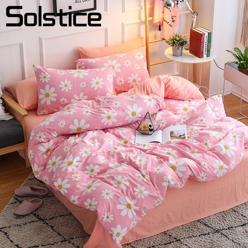 Solstice Home Textile Pink Flower Girl Lady Bedding Set Soft Duvet Cover Pillowcase Bed Sheet For Kid Teen Adult Queen Full Twin
