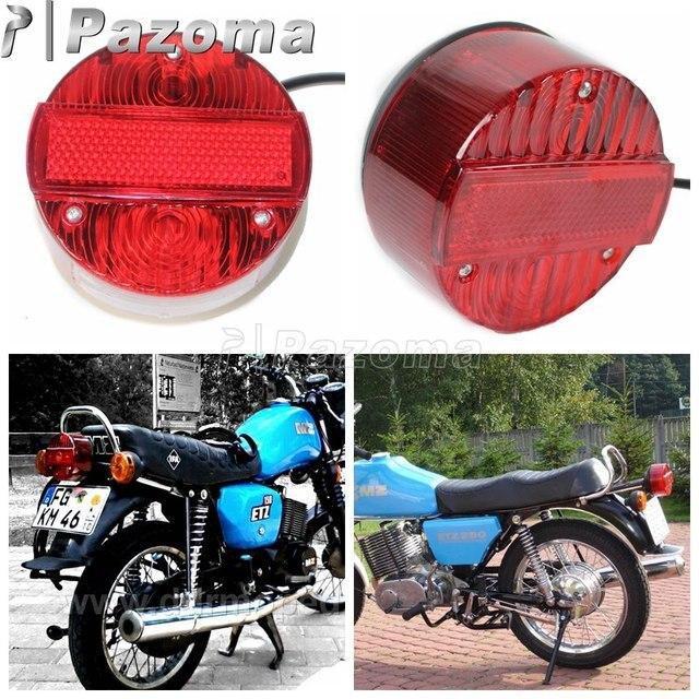 Feu de frein arrière moto feu de plaque d'immatriculation en cours d'exécution pour MZ ETZ 150 250 251 301 Simson SR50 S51 Suzuki TS125 150 250