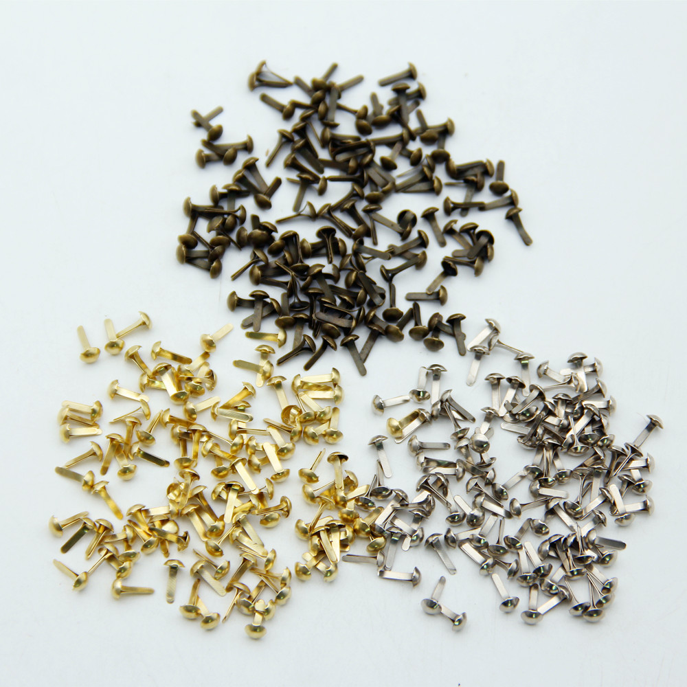100pcs 4.5mm Mixed 3 Colors Iron Round Metal Mini Brads For Scrapbooking Accessories Embellishment Fastener DIY Handmade Crafts