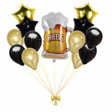 13pcs Large Beer Mug And 18inch Star Foil Balloons Black Gold Globos Birthday Party Decorations Adult Wedding Decor Supplies