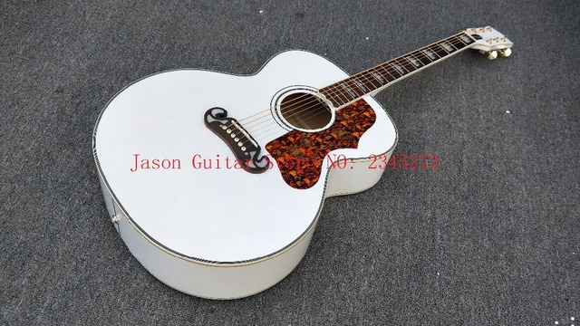 Chinese Popular Custom Acoustic Guitar 43 Inch J200 White Color
