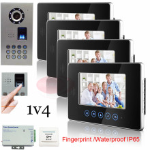 1v4 Smart Home Touch Key 7″ Indoor Unit Video Door Phone Intercom System+Fingerprint/Code Unlock Outdoor Unit Waterproof(IP65)