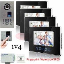 1v4 Smart Home Touch Key 7″ Indoor Unit Video Door Phone Intercom System+Fingerprint/Code Unlock Outdoor Unit Waterproof(IP65)