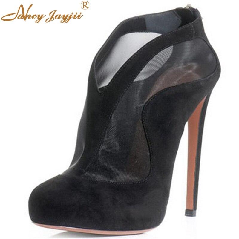 ФОТО Nancyjayjii Women Fashion Lace Charming Black And Red House hair  Women's High Heel Ankle Boots With Zipper And Flatform Plus