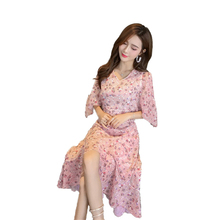 Flora Printing Dresses Pink Lavender V Neck Half-length Strapless Bat Sleeve Russia Cute Draped Pleated Casual Cotton Chiffon