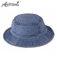 AETRENDS Denim Cotton Washed Bucket Hat Men Women Panama Hip Hop Fishing  Outdoor 5a3739993f26