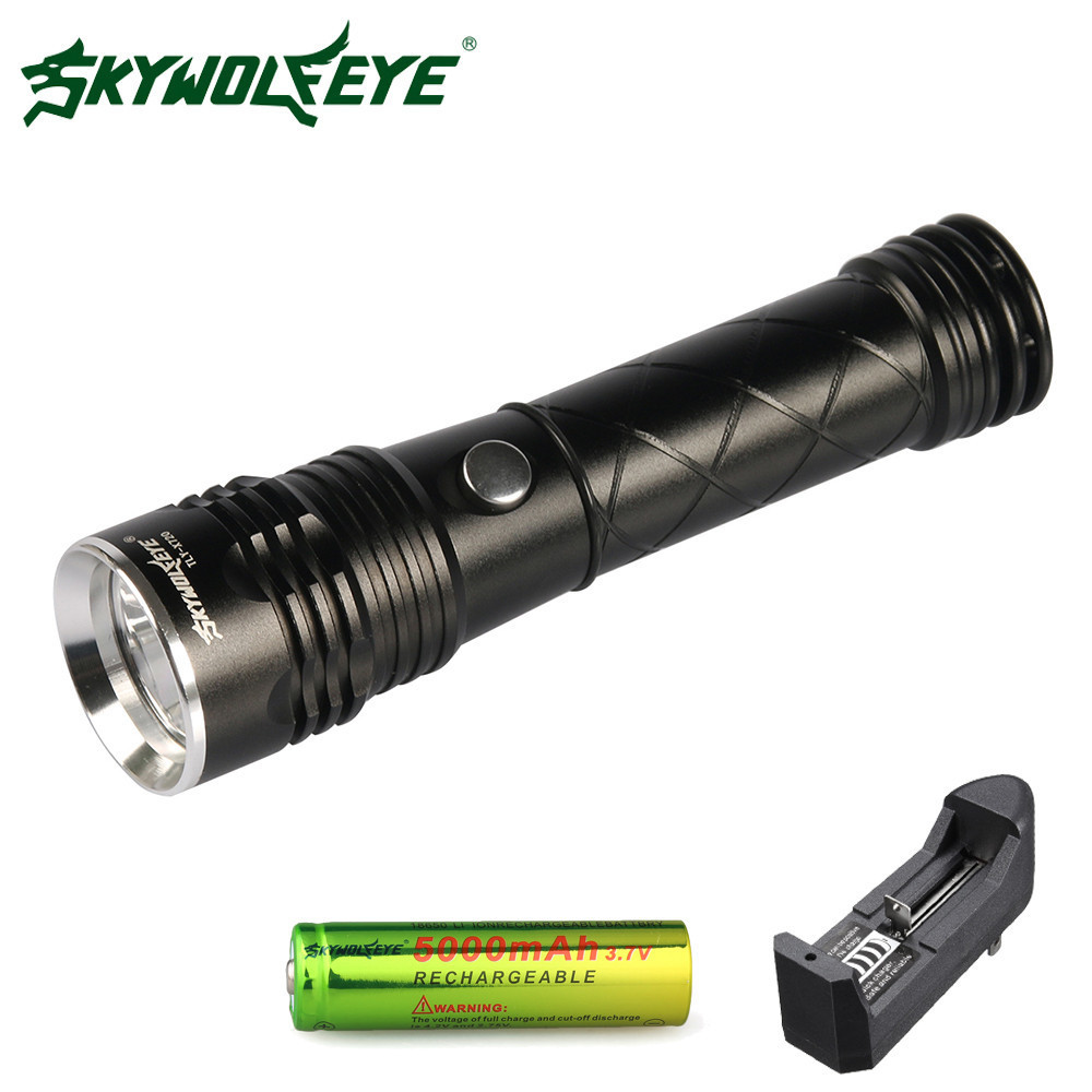 Skywolfeye LED Flashlight T6 Zoomable 3 Modes Aluminium Torch Camping Lamp Tail With Magnet 18650 Rechargeable Battery Charger climbing led torch flashlight camping rechargeable led flashlight best selling military 3 aaa 1 18650 lamp 8003