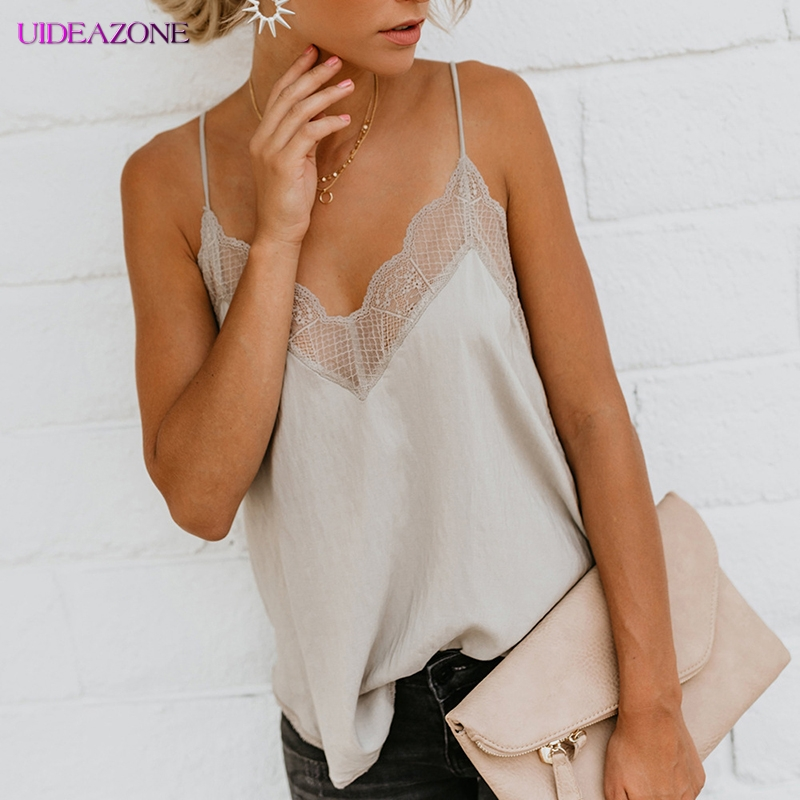 UIDEAZONE Sexy Lace   Top   Silk Satin Women Camisole Casual Red Plain Strappy Loose Femme Vest   Top   Sleeveless Casual   Tank     Tops