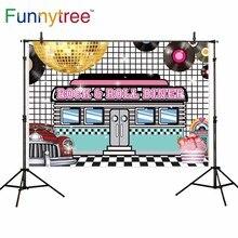Funnytree 사진 배경 락 롤 식당 댄스 디스크 스포트 라이트 음식 사진 배경 사진 photocall photobooth