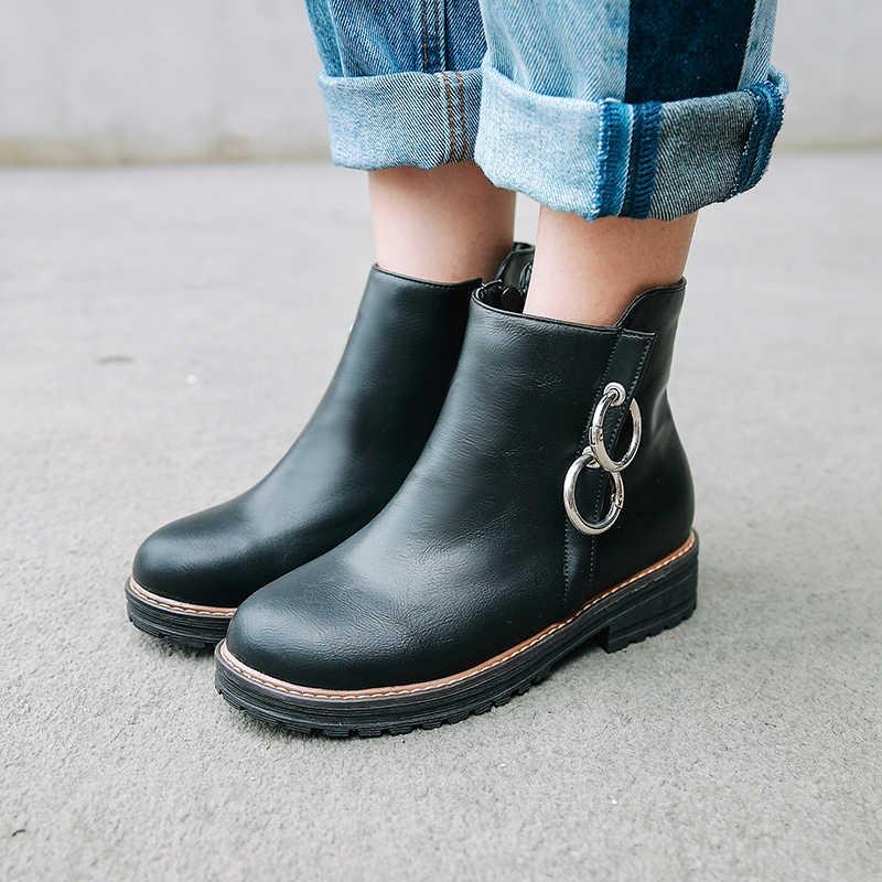 WETKISS Pu Kadın yarım çizmeler Yuvarlak Ayak Ayakkabı Platformu Kız Ayakkabı Kadın 2018 Kalın Topuklu Bayan Ayakkabı Yeni Rahat Kadın Çizme