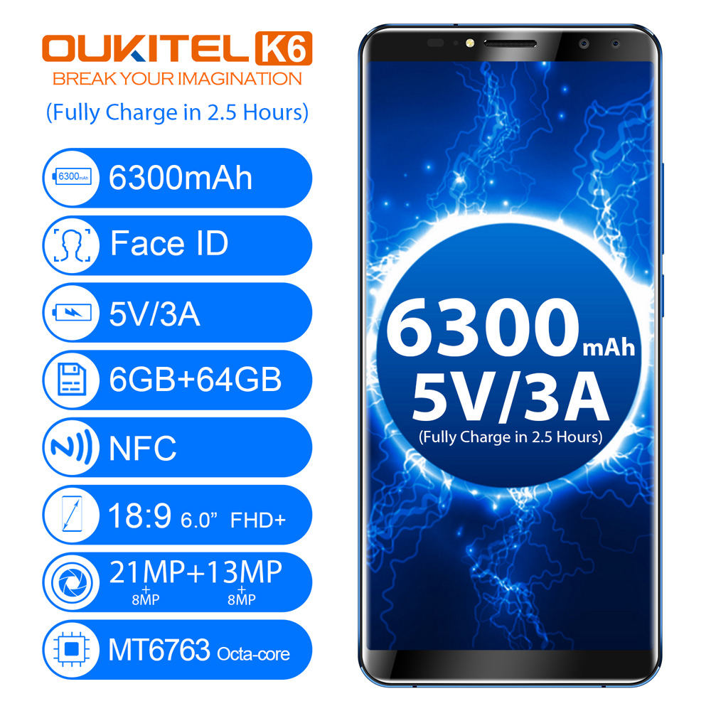 Aliexpress buy oukitel k6 face id 6300mah 4g smartphone 60 aliexpress buy oukitel k6 face id 6300mah 4g smartphone 60 189 fhd android 71 mtk6763 octa core 6gb64gb 21mp13mp 4 cameras mobile phone from fandeluxe Choice Image