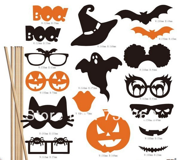 new arrivalfree shipping 17pcslot diy photo booth props bat pumpkin glasses - Halloween Photography Props
