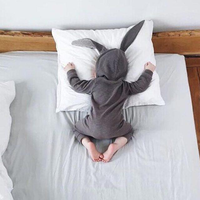 Nueva Primavera Otoño de Los Mamelucos Del Bebé Lindo Conejo de Dibujos Animados Bebé Niña Niño Jumpers Niños Trajes Para Bebés Ropa