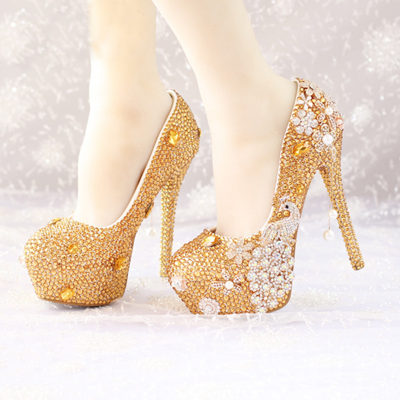Aliexpress.com : Buy Glitter Gold Rhinestone Wedding Shoes 5