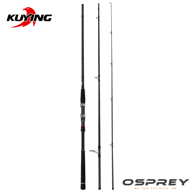 KUYING O-SPREY 3 Seksione 3m 10 'Lure MH Hard Carbon Spinning Rod Pole Fole FUJI Pjesë deti Bass Cane Stick Medium Fast