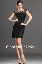 Lace Black Bateau Mother of the Bride Dresses Top grade Short-sleeves Sheath Knee-length Satin Ruffle yk-8B09