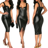 Sexy Wetlook PU Leather Bodycon Dress Women Sleeveless Strap Summer Short Robe Black Party Club Bandage Dress Elegant Vestidos