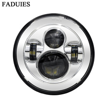 """FADUIES 1Psc Chrome 7"""" LED Headlight With H4 High Low Beam For bike Motorcycle LED Headlamp"""