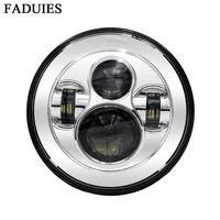Oferta FADUIES 1Psc cromo 7 LED faro con H4 alta baja y haz para bicicleta de la motocicleta LED faro