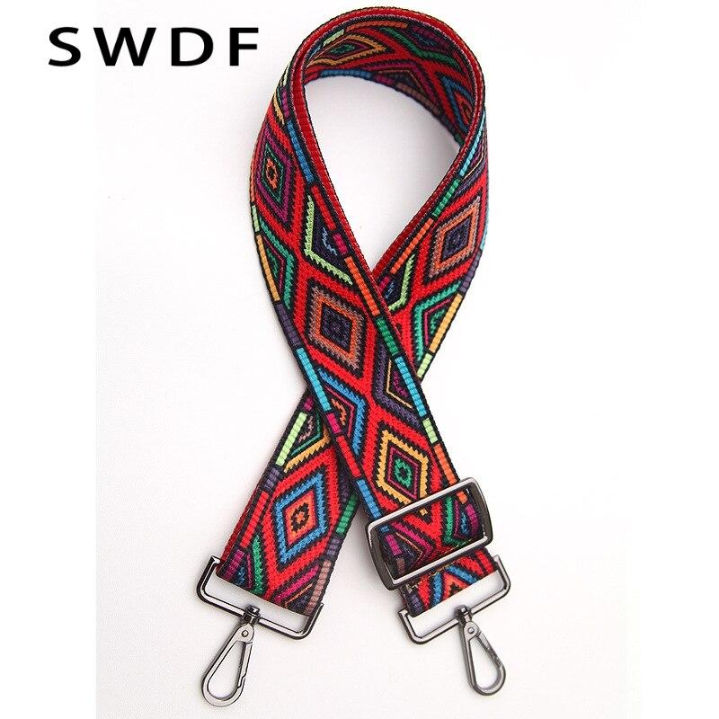 SWDF 2018 Nylon, cotton blend fabric Colored Bags Straps Rainbow Belt Accessories for Women Adjustable Shoulder Hanger Handbag