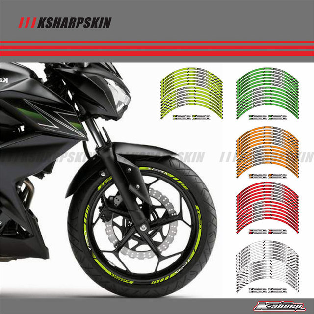 12 x thick edge outer rim sticker stripe wheel decals fit all kawasaki z250