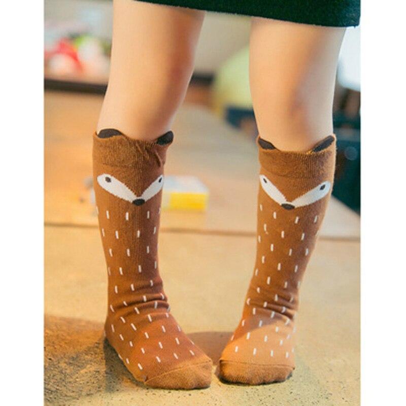 Toddler Knee High Socks Baby Boys Bebe Girls Fox Socks Soft Anti-slip Cotton Cartoon Animal Cat Leg Warmers For Infant Newborn