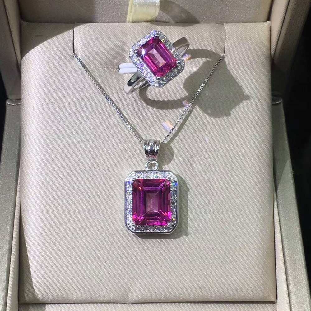 High Quality 925 Sterling Silver Pendant Rectangle cut Real Natural Pink Topaz Pendant Women jewelry for Christmas without Chain