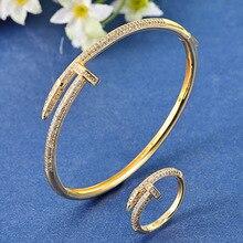 Blucome Zircon bangle Jewelry Brand Women's Gold Bangles&Rings Bijuteriras Copper Men Bangle Pulseira Joias Ouro Braceletes