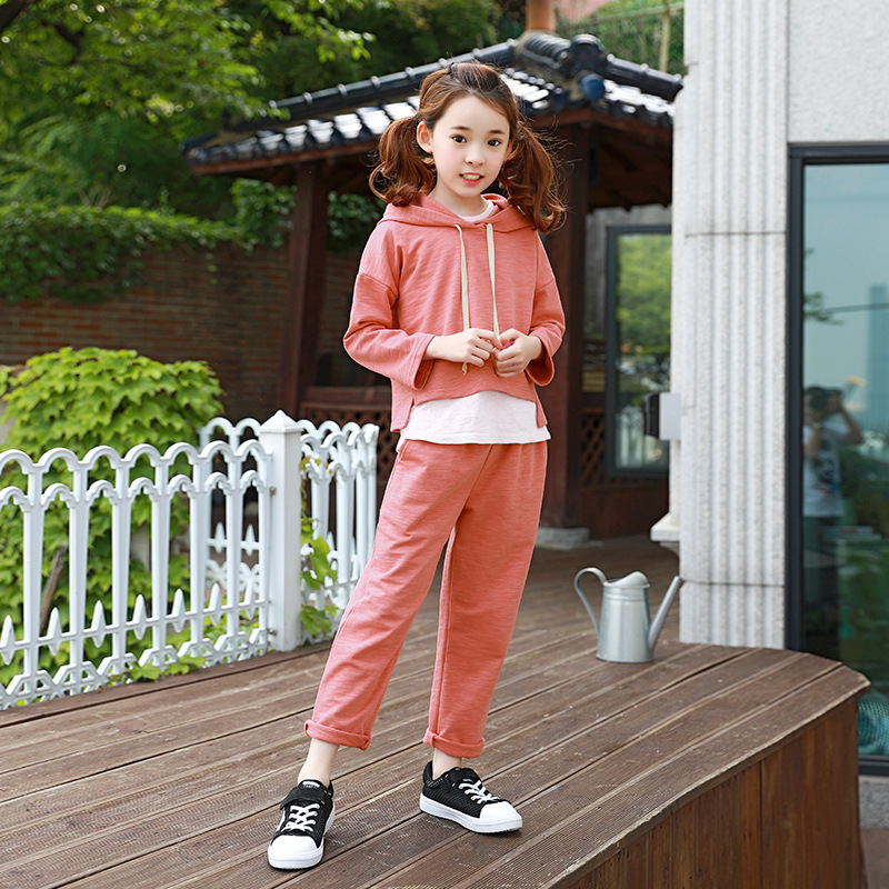 cotton teenage girls clothing sets baby girl sport suits children clothing sets 2018 New hooded kids clothes set tops and pants 2017 new fall mustard yellow children sets ruffle butterfly sleeves infants clothing baby girl nursing accessory apparel