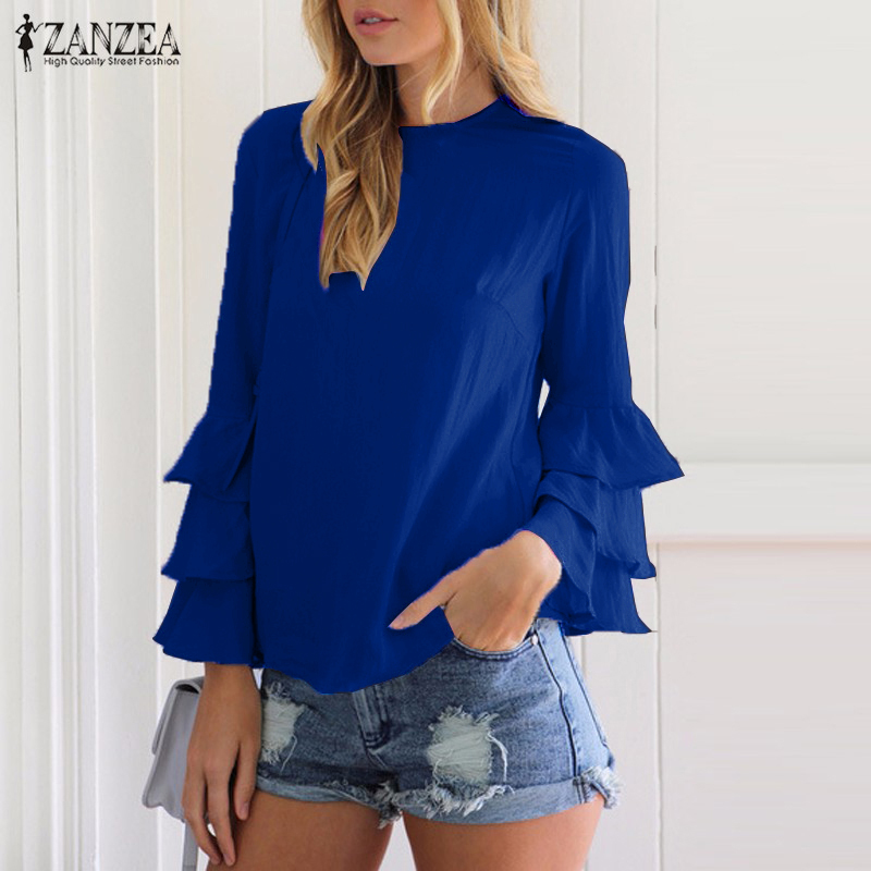 Summer Autumn Winter 2019 ZANZEA Vintage Women Blouses Shirt Long Bell Sleeve Ruffled Flounce Blouse Tunic  Tops Blusa Plus Size