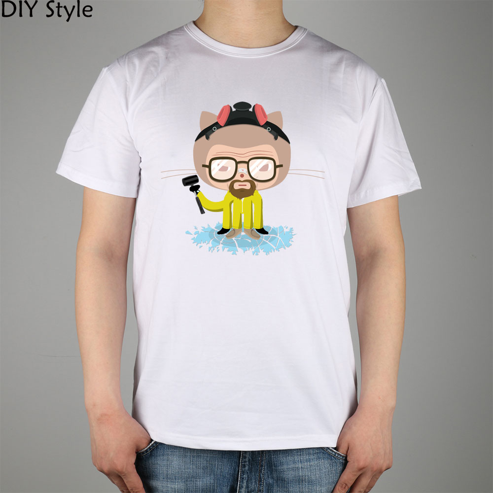 The GitHub OctoCat Walter White Heisenberg Breaking Bad heisencat T-shirt Top Lycra Cotton Men T shirt New image