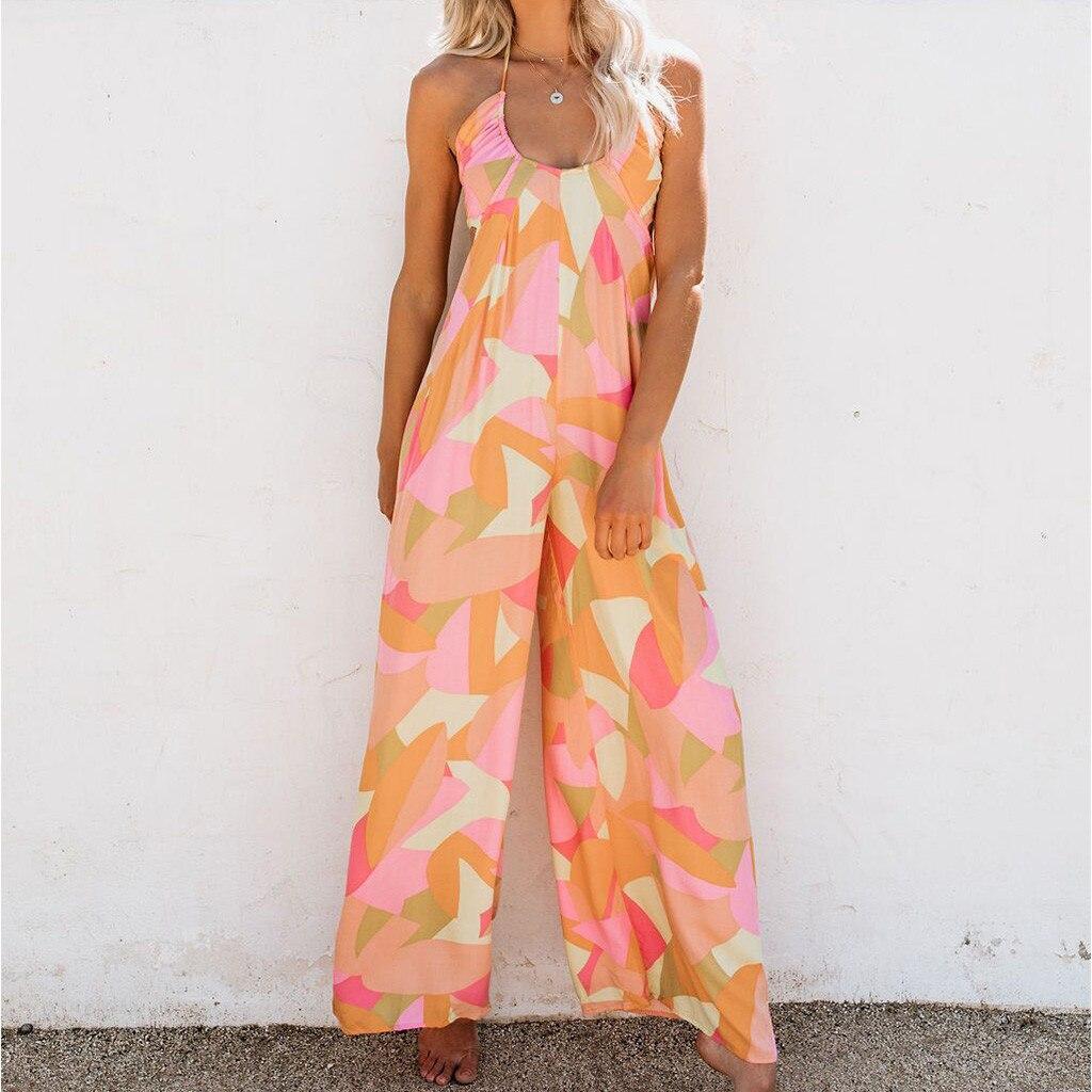 Harem Jumpsuits Women 2020 Streetwear Summer Rompers Camouflage Print Lady Baggy Overalls Jumpsuit Halter Off Shoulder Backless