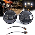 "Motorcycle 4.5"" LED Fog HeadLight Passing Lamp Spot For Harley Davidson Touring"