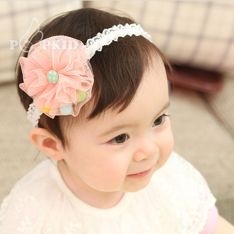 New arrival 30pcs lot baby lace headbands princess style baby girl headwear  elastic hair bands flower dot ball hair accessories 613f0dc0bec