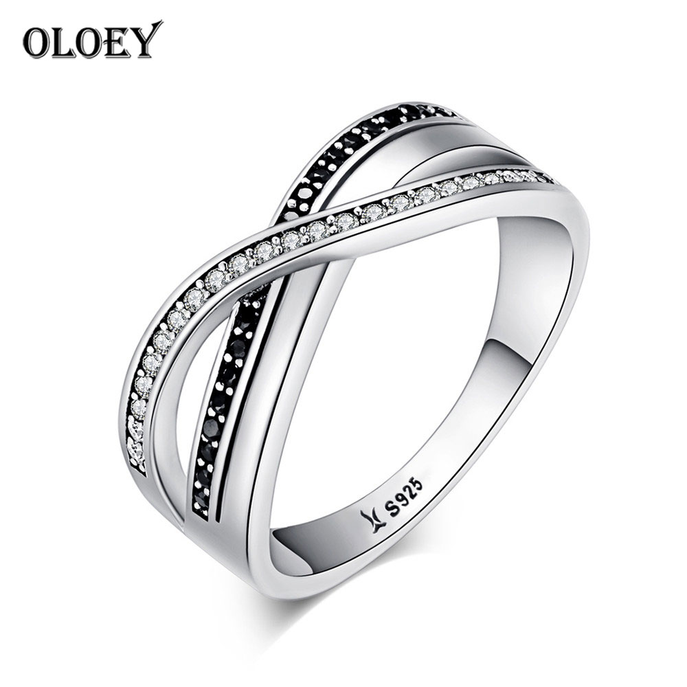 OLOEY Zircon Finger Ring for Women Real 925 Sterling Silver Endless Infinity Twisting Wave Rings Engagement Fine Jewelry YMR148