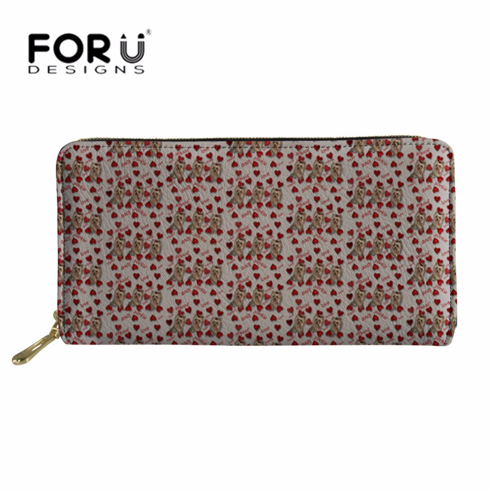 FORUDESIGNS Ladies Long Phone Card Holder Women Cluth PU Leather Wallets Yorkie Printing Coin Pocket for Girls Kawaii Wallet in Wallets from Luggage Bags