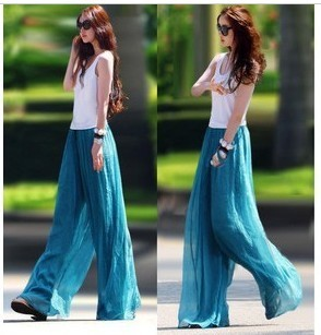 Bohemia trousers fashion gold high waist casual chiffon wide leg ...