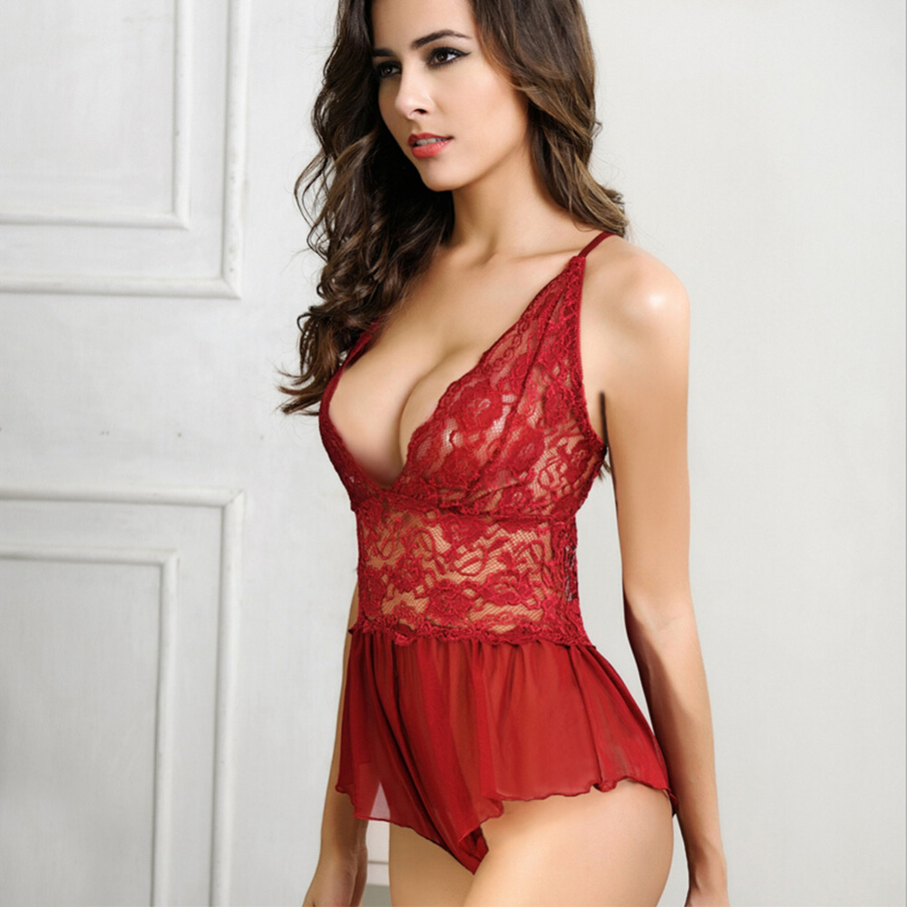 Collection Women's Sexy See Through Lace One Piece Nightwear ...