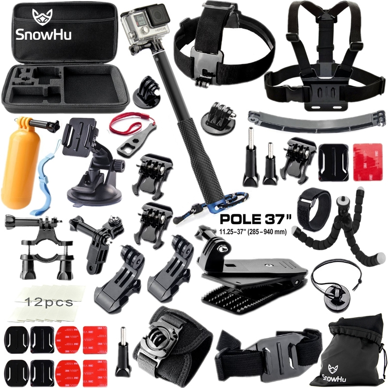 SnowHu For Gopro Hero Accessories Set Mount Strap Monopod For Go pro hero 6 5 5S 4 3+3 for EKEN H9 for xiaomi for yi for 4k GS42 gopro accessories head belt strap mount adjustable elastic for gopro hero 4 3 2 1 sjcam xiaomi yi camera vp202 free shipping