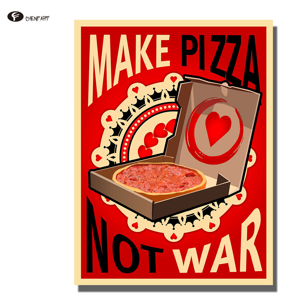 CHENFART Posters and Prints Vintage Make Pizza not War Wall Art Canvas Print Decorative Pictures no Framed