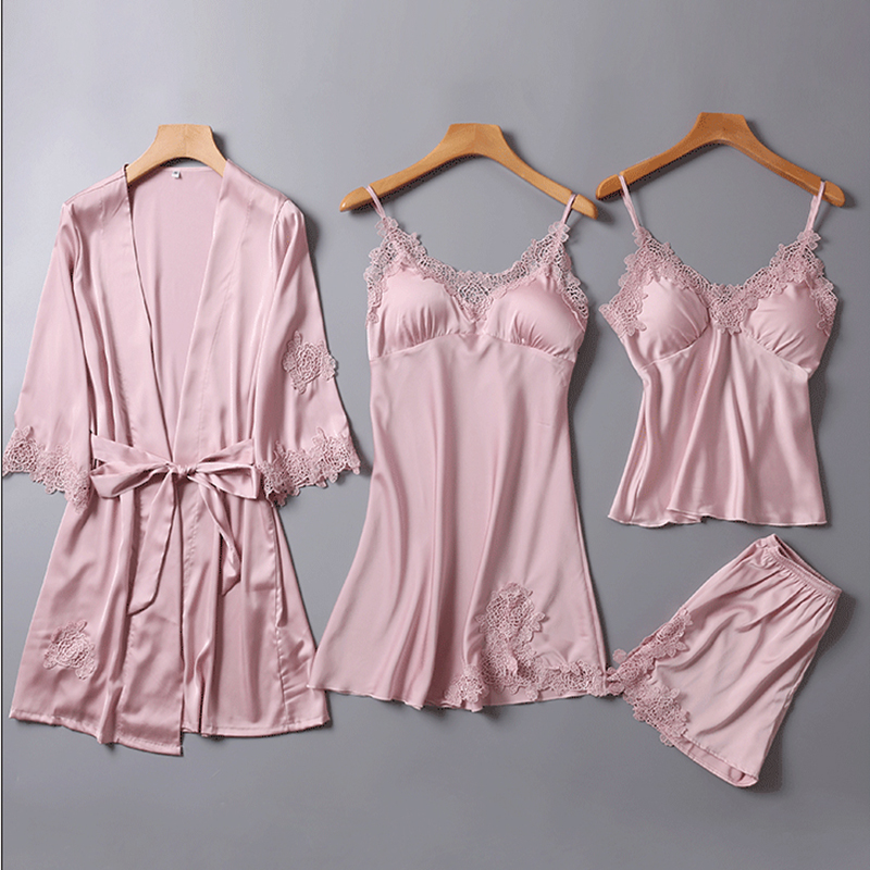 PKSAQ   pajamas   for women summer 4 pieces of   pajamas   One Lot   Pajama     Sets   Sleepwear home suit clothing silk   pajama     set