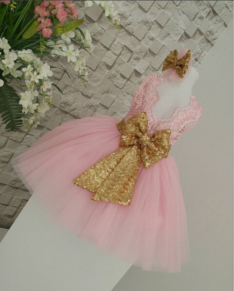 Summer sleeveless pink sheer lace dress gold sequin bow ball gown knee-length frocks for baby 1 year birthday party