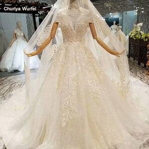 Image 1 - LS378441 altın dantel parlak düğün elbisesi glitter v yaka cap kollu dantel yüksek kolye basit güzellik peçe платья на свадьбу